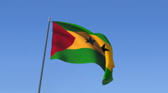 The flag of Sao Tome and Principe Waving on the Wind. Stock Footage