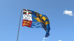 The flag of Saint Pierre and Miquelon Waving on the Wind. Stock Footage