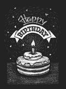 Happy birthday illustration on chalkboard - stock illustration