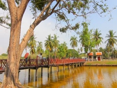 Wat Sa Si, Ancient buddha temple. Sukhothai Historical Park, Thailand Stock Footage