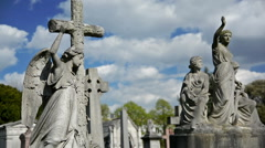 Brompton cemetery, London. Statues, tumbs and crosses. Different scenes - stock footage