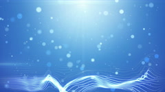 blue bokeh lights and wavy lines loopable background 4k (4096x2304) - stock footage