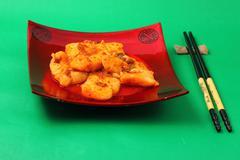 Sirchuan style stir fried fish Stock Photos