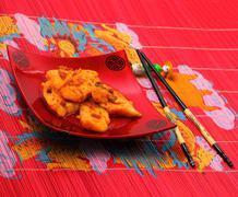 sirchuan style stir fried fish - stock photo