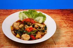 Seafood stir fry Stock Photos