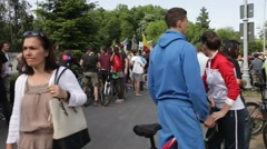 Romania Rally Bucharest Protest Mass Logging Forest Stock Footage