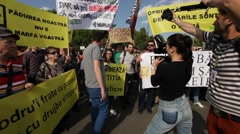 Mass Logging Rally Romania Protest Bucharest Forest Stock Footage