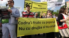 Bucharest Rally Romania Protest Forest Mass Logging Stock Footage