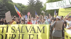Forest Rally Bucharest Mass Logging Protest Romania Arkistovideo