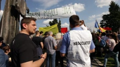 Rally Forest Bucharest Protest Romania Mass Logging Stock Footage