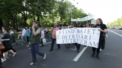 Romania Rally Protest Bucharest Mass Logging Forest Stock Footage