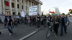 Bucharest Protest Romania Rally Mass Logging Forest Stock Footage
