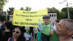 Romania Protest Mass Logging Rally Bucharest Forest Stock Footage