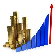 Business Chart and gold coins Stock Illustration