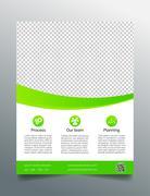 Business flyer template - simple sleek design in bright green - stock illustration