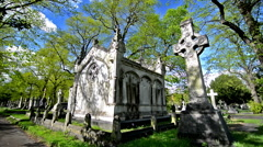 Brompton cemetery, London. Statues, tumbs and crosses. Different scenes Stock Footage