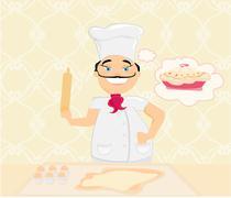 Chef preparing a cake Piirros