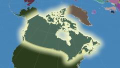 Stock Video Footage of Canada outlined and glowed. Neighbourhood. Administrative