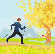 Nordic walking - active man exercising outdoor Stock Illustration