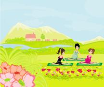 Childbirth education classes outdoors - stock illustration