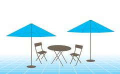 Outdoor table, chairs and umbrellas Stock Illustration