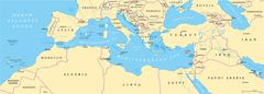 Mediterranean Basin Political Map - stock illustration