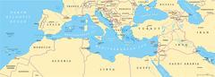 Mediterranean Basin Political Map Stock Illustration