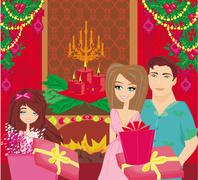 Family Christmas at home,happy girl opens the gift - stock illustration