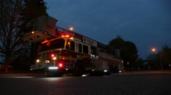 Fire Trucks at Dawn- Leaving incident Stock Footage