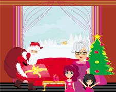 Stock Illustration of grandmother with granddaughters waiting for Santa Claus