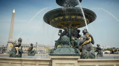 Fountain at place de Concorde in Paris, France Stock Footage