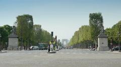 PARIS, FRANCE-APRIL 24, 2015: Champs - Elysees, Arc de Triomphe Stock Footage