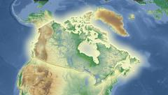 Canada outlined and glowed. Neighbourhood. Physical Stock Footage