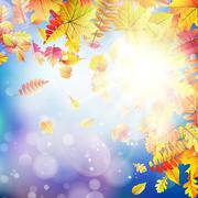 Autumnal natural bokeh with sun. EPS 10 Stock Illustration