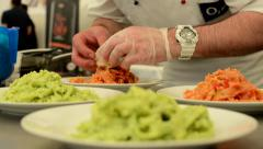 Chef prepared food (meal: pasta with meat) Stock Footage