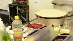 Chef prepares a pancake - steam - nobody Stock Footage