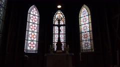4k Church Jesus cross on altar in Harz village Braunlage Stock Footage