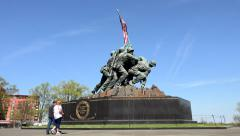 Stock Video Footage of Couple at Washington DC Marine Corp National Monument 4K 041