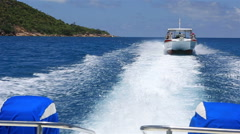Pleasure boat plies the Indian Ocean Stock Footage