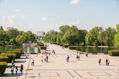 Carol Park Or Liberty Park In Bucharest Stock Photos