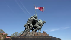 Iwo Jima Memorial Marine Corp flag Washington DC 4K - stock footage