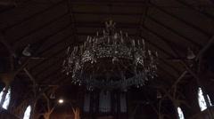 4k Church candelabrum and organ in Harz village Braunlage Stock Footage