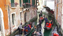 4K gondola traffic jam at narrow chanel Stock Footage