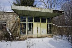 Abandoned Soviet canteen - stock photo