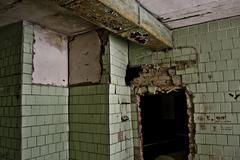 inside the Abandoned Soviet canteen - stock photo