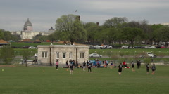 Washington DC Capital teenagers sports team park mall grass 4K Stock Footage