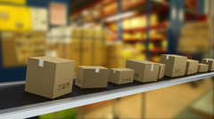 Animation of shipping packages moving on a conveyor belt Stock Footage