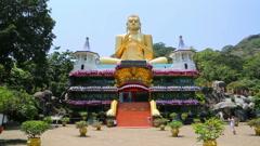 Dambula golden temple in Sri lanka Stock Footage