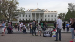 Washington DC White House demonstrator and tourists 4K Stock Footage