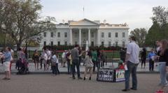 Washington DC White House demonstrator and tourists 4K - stock footage